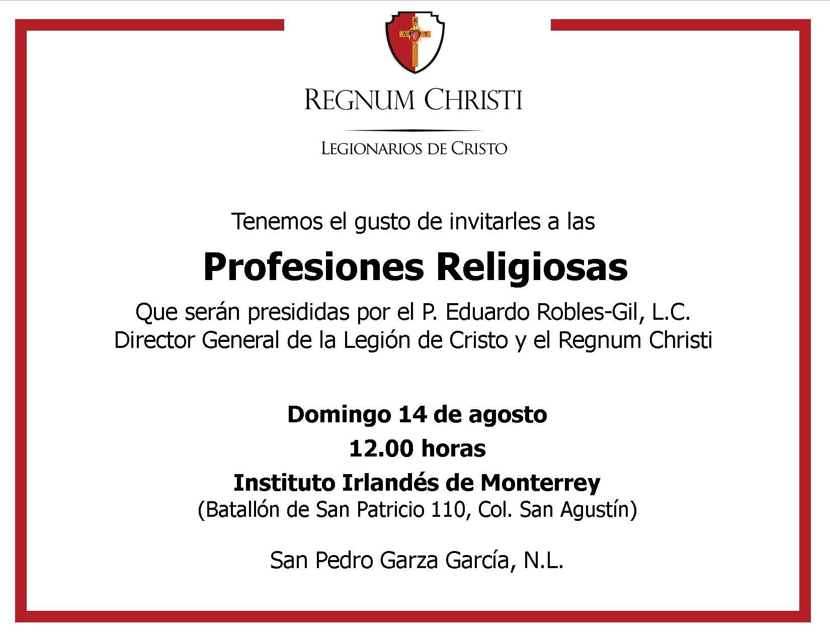 Invitación A Profesiones Religiosas En Movimiento